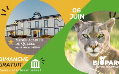 6 juin · Visite gratuite du Musée et du Bioparc
